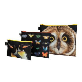 LOQI : Zip Pocket (set of 3) National Geographic Collection - Owl Butterflies Penguins