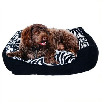 Florence Plush Rectangle Pet Bed ,75x60x22cmcm, 2Asst Designs, Grey and Brown ,