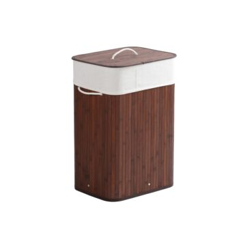 Sherwood Home Tall Rectangular Folding Bamboo Laundry Hamper with Lid Natural Bamboo 40x30x60cm