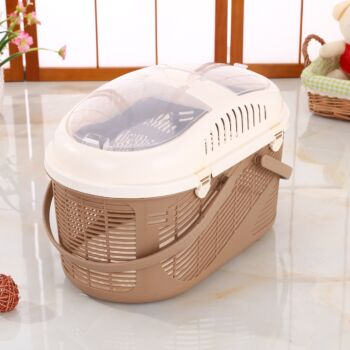 Small Dog Cat Crate Pet Rabbit Guinea Pig Ferret Carrier Cage With Mat-Brown