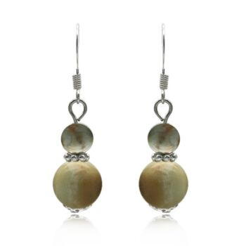 6-10mm Natural Round Amazonite Silver Plated Drop Earrings