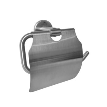 Dolphy Stainless Steel Brushed Toilet Roll Holder with Cover
