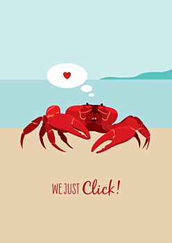 Lovers Card - Red Crab