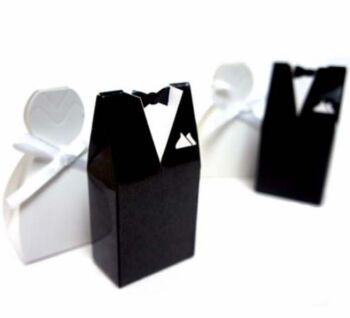 50 Pack - 25 Bride Dress and 25 Groom Suit Candy Favour Box Name Card Holder - Wedding Bomboniere Party (50 Pieces)