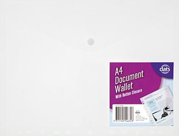Document Wallet A4 with Button Clear