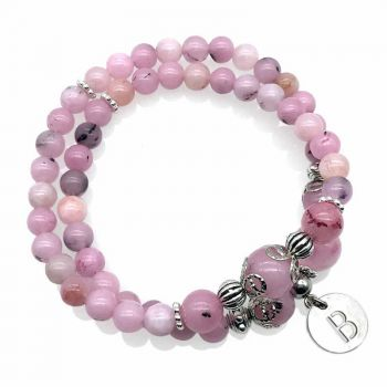 Cherry Blossom Jasper Natural Gemstone Personalized Stainless Steel Initial Letter Charm Double Row Stretch Beaded Bracelet