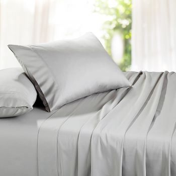 Single Bed 1500TC Organic Cotton Rich Bed Sheet Sets in Stone Grey