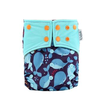 Whales Design Bamboo Charcoal Cloth Nappy