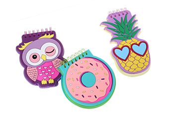 Small Notebook - 3 Designs - Owl, Pineapple, Donut - 20 in a box