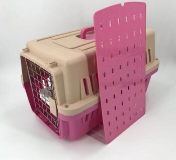 Medium Dog Cat Crate Pet Carrier Airline Cage With Bowl & Tray-Pink