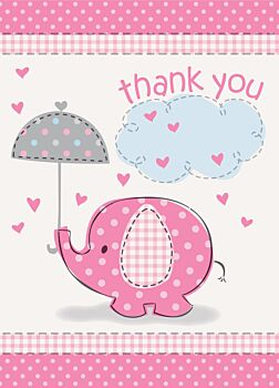 Elephant Pink Thank You Notes 8 Pack