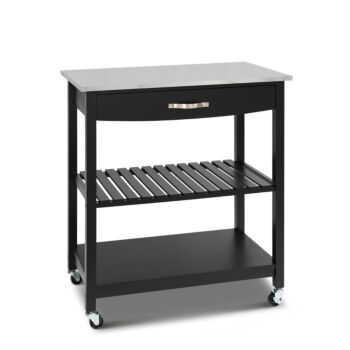 Hina Kitchen Trolley with Drawer 2 Shelves Black