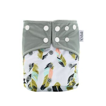 Grey with Colourful Feathers Bamboo Charcoal Cloth Nappy