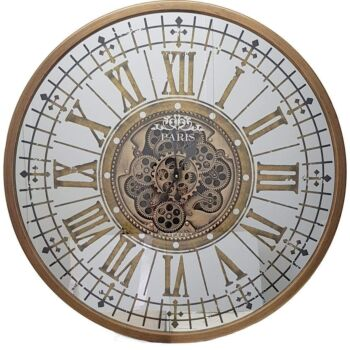 Round 80Cm Mirrored Paris Moving Cogs Wall Clock - Gold
