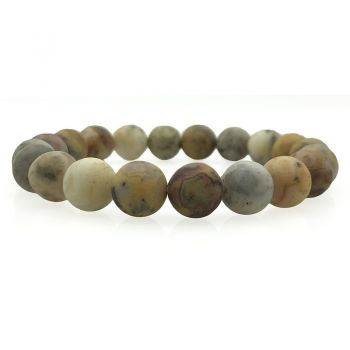 Men's Natural Frosted Crazy Agate Stretch Beaded Bracelet