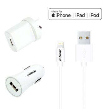 mbeat 3-in-1 MFI USB Lightning Charging Kit (  1m Lighting to USB Cable + 2.1A Car Charger + 2.1A Wall Charger )