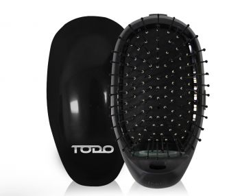 TODO Ionic Styling Hair Brush Straightener Anti-Frizz Smooth Silky Hair Stainless Steel Bristle Black