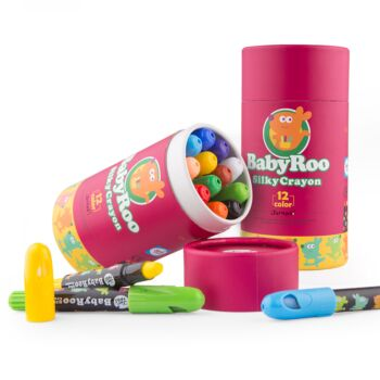 SILKY WASHABLE CRAYON -BABY ROO -12 COLORS