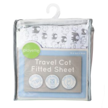 Printed Travel Cot Fitted Sheet Elephant