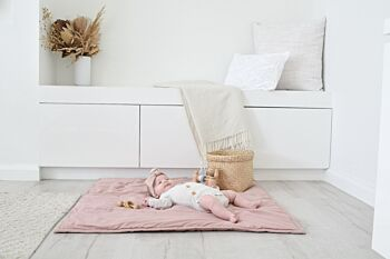 Organic Cotton Play Blanket / Cot Quilt - Dusky Pink