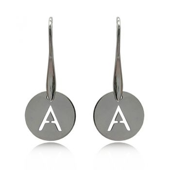 Personalized Stainless Steel Initial Letter Charm Dangling Drop Earrings