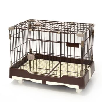 Medium Brown Pet Dog Cat Rabbit Cage Crate Kennel With Potty Pad And Wheel