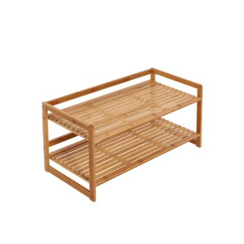Sherwood Home 2-Tier Natural Bamboo Shoe Rack with Curved Sides - Light Brown- 70x33x33cm