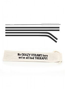 Straw Set Stainless Steel No Crazy Straws Here Perfect Gift Cotton Screen Printed Bag