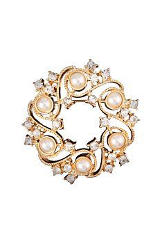Barcs Australia Pearl And Stone Women's Gold Plated Brooch