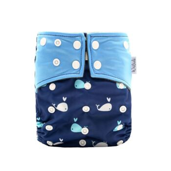 Mini Whales Design Bamboo Charcoal Cloth Nappy