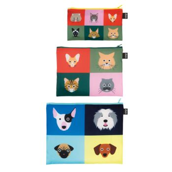 LOQI : Zip Pocket (set of 3) Dogs & Cats