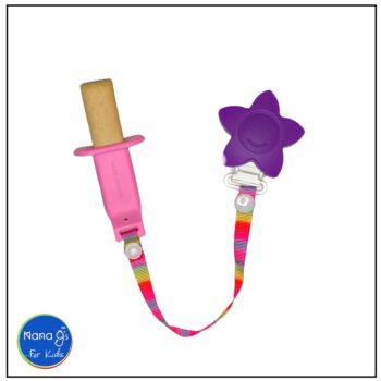 Nana gs Rusk and Fruit Stick Holders - Pink with Purple Clip