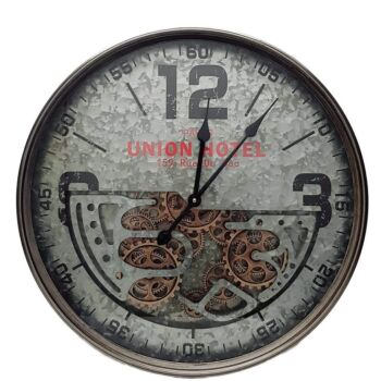 D60Cm Round Union Hotel Modern Moving Cogs Clock - Silver