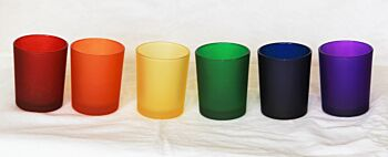 24 Pack - Rainbow Mardis Gras Frosted Glass Tealight Candle Holders Wedding Party Decorations