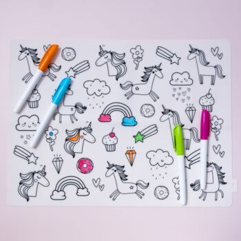 Colouring In Silicone Placemat - Unicorn [Starter Pack]