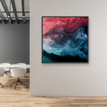 A Storm Is Coming - Abstract Red and Grey Landscape Canvas Art Print  Wall Art