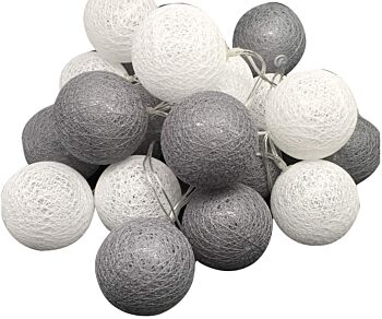 5 Sets of 20 LED Grey White 5cm Cotton Ball Battery Powered String Lights Gift Home Wedding Party Bedroom Decoration Outdoor Indoor Table Centrepiece