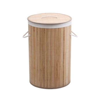 Sherwood Home Round Collapsible Bamboo Laundry Hamper With Polycotton Bag Natural Brown