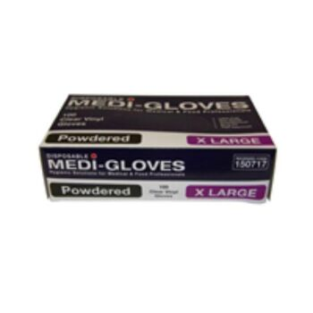 Gloves 100 Vinyl Clear Extra Large Powdered