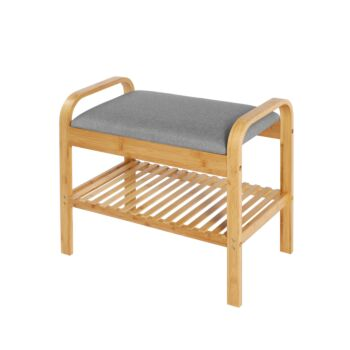 Sherwood Home Seated Shoe Bench and Storage Rack - Natural Bamboo - 60x33x50cm