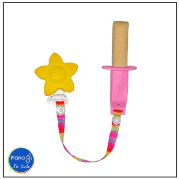 Nana gs Rusk and Fruit Stick Holders - Pink with Yellow Clip