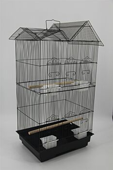 4 X Medium Size Bird Cage Parrot Budgie Aviary with Perch - Black
