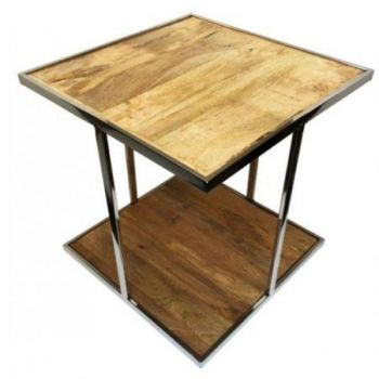 MODERN COFFEE TABLE  STAINLESS FRAME AND SOLID WOODEN TOP