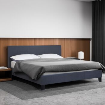 Milano Sienna Luxury Bed Frame Base And Headboard Solid Wood Padded Linen Fabric