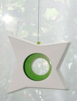 1 Boxed Hangable White Pottery Ceramic Outdoor Decoration Star Tealight Candle Holder - Green Centre