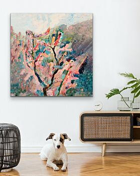 Cherry Blossom - Abstract Pink and Green Nature Stretched Canvas Artwork Wall Art Print