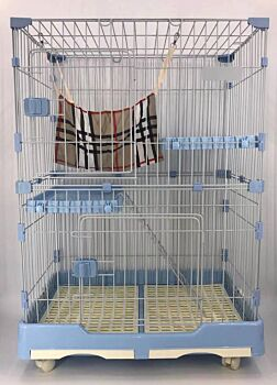 102 cm Blue Pet 3 Level Cat Cage House With Litter Tray & Wheel 72x47x102 cm