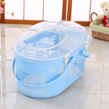 Small Dog Cat Crate Pet Rabbit Guinea Pig Ferret Carrier Cage With Mat-Blue