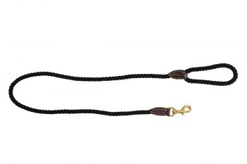 MOG AND BONE LEATHER BRASS ROPE LEAD BLACK 1.8M