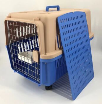Blue Large Dog Puppy Cat Crate Pet Carrier Cage With Tray, Bowl & Wheel